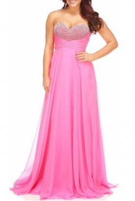 Eye-Catching Strapless Pink Prom Gown