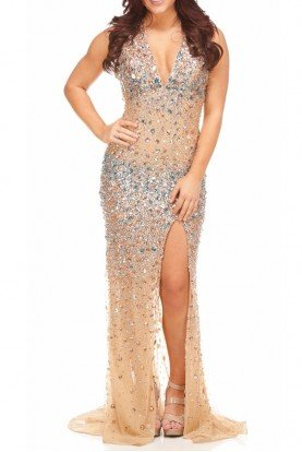 Halter Style Jeweled Nude Gown Dress  Nude Gold