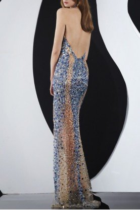 Jasz Couture Smashing Rhinestone Gown 4973 Blue Sheer Nude