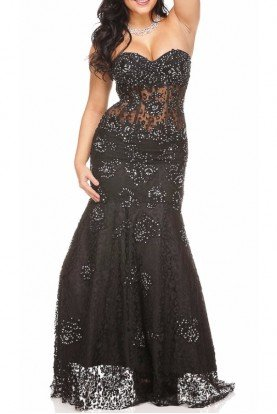 Shimmering Lace Evening Gown