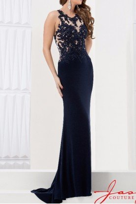 Shimmering Illusion Applique Gown