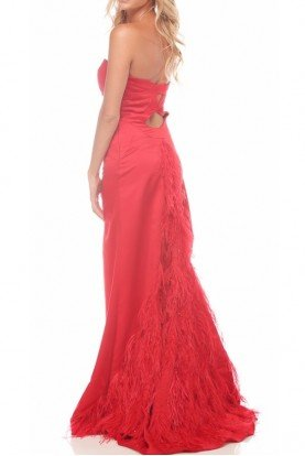Jasz Couture Scarlet Feather  Red Dress Train Gown 4574