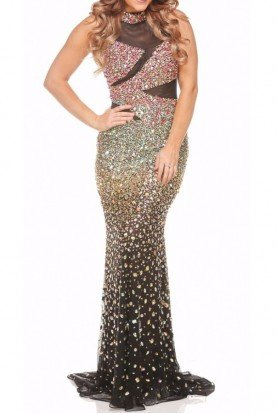 Jasz Couture Masterpiece Shimmer Illusion Evening Dress