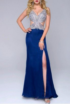 Sultry Sleeveless Cutout Gown Navy Dress 1242