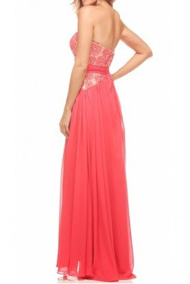 1071 Strapless Dress Red Watermelon Gown