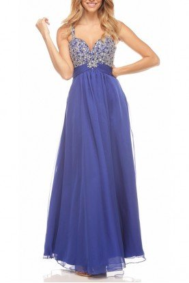 Sizzle Beaded Empire Royal Blue Gown Dress 7310
