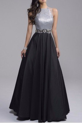 Silver Contrast Ball Gown Dress 1218