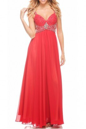 Sassy Beaded Empire Gown dress Red 1104