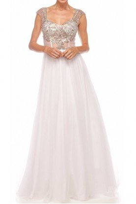 Nina Canacci Shimmering Beaded Daring White Gown Dress 8035