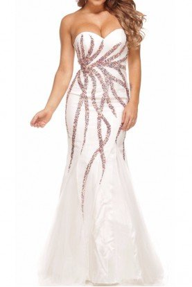 Embellished Fit-and-Flare White Gown Dress 3011