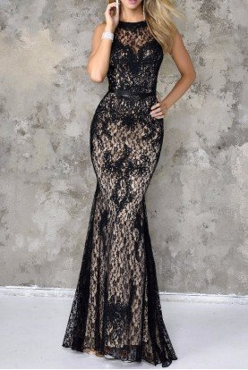 Beautiful Black Lace Gown Dress 4103