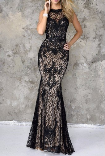 Nina Canacci Beautiful Black Lace Gown Dress 4103