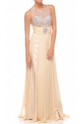 Nina Canacci Nude Beaded Sheer Gown Dress 1091