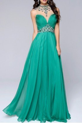 Elegant Emerald Gown Dress Open Back 1246