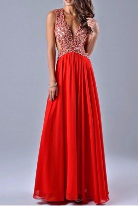 Dramatic Beaded Cutout Red Gown Dress 7400