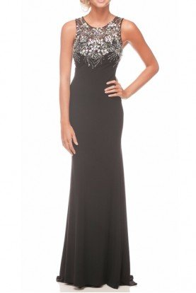 Black Beaded Sheer Gown Dress 8038