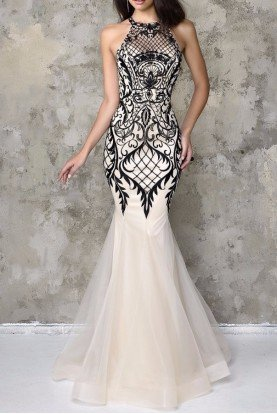Artful Lace Halter Gown Ivory Black Dress 4101