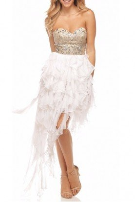 White Adorned Strapless High Low Dress Prom 7016