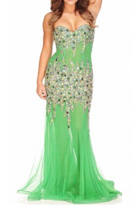 Strapless Emerald Jeweled Gown Dress 4823