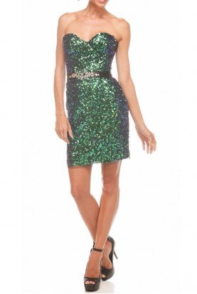 Strapless green Sequin Peacock Cocktail Dress