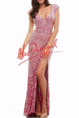 Mac Duggal Crystal Raspberry Cap Sleeve Dress 4186