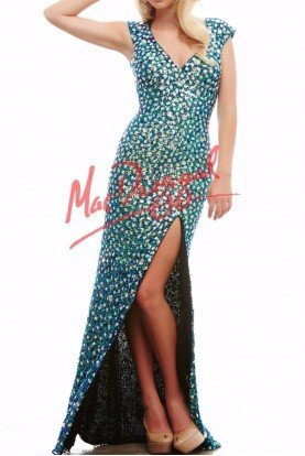 Mac Duggal Crystal Blue Cap Sleeve Dress Gown 4186