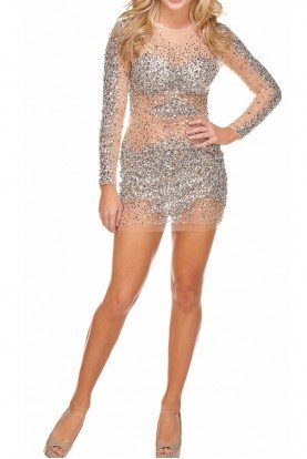 Silver Encrusted Sheer Mini Dress 7758