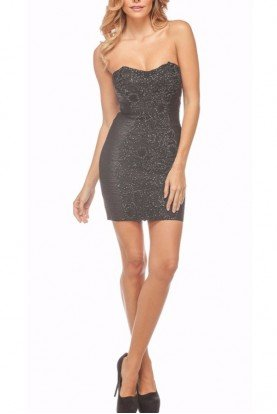 Beaded Lace Bandage Black Cocktail Dress 20878