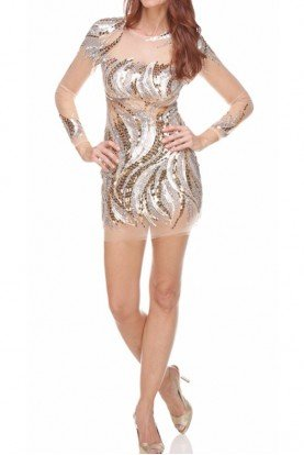 Brilliantly Embellished Illusion Mini Dress Silver