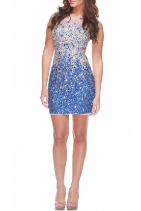 Cascading Beaded Mini Sequin Blue Silver Dress 171261