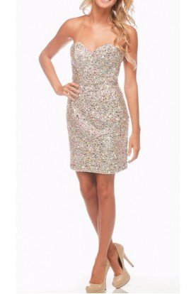Jovani Nude Silver Beaded Dress 99484