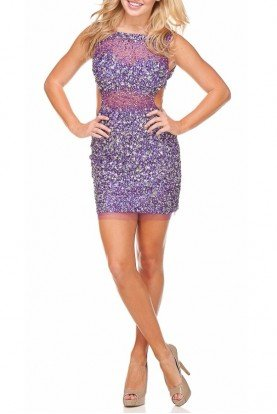 Fun & Flirty Purple Cutout Dress 93076