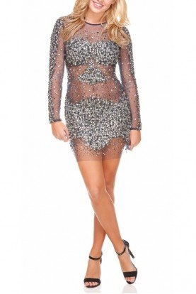 Navy  Sheer encrusted Pia Dress 7757