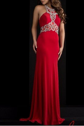 Ravishing Regal Ruby Red Halter Gown 5631
