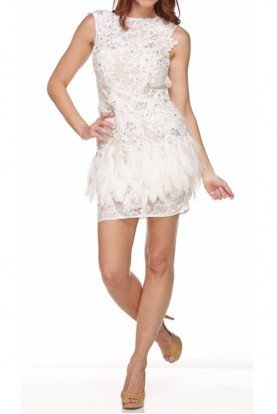 Glamorous Short Ivory Lace Dress with Feathers
