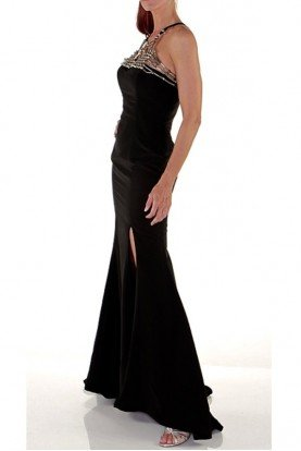 Black Metal Beaded Slit Formal Gown Evening Dress