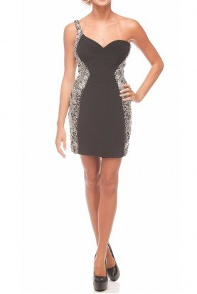 One Shoulder Crystal Encrusted Short Dress 20404