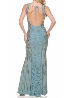 Light Pastel Blue Richly Pleated Gown Open Back
