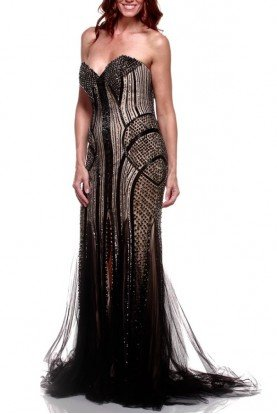 Jovani Sequin Stone Encrusted Sparkling Sheer Black Nude Gown