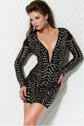 Black Studded Deep V Short Cocktail Dress 9419