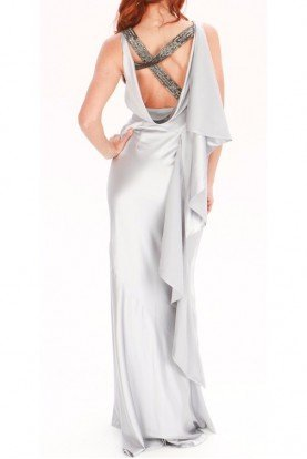 Silver Grey Silk Shine Dress