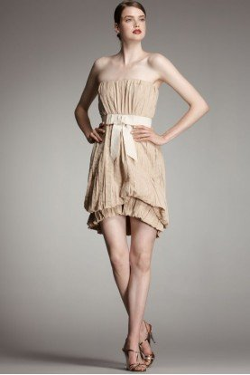 Robert Rodriguez Pleated Nude Tan Brigitte Bow Cocktail Dress