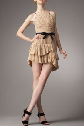 Silk Pleated Beige Paris Dress