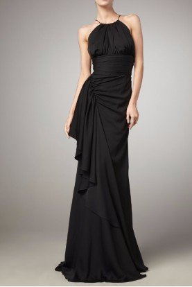 Black Label Silk Frances Halter Gown Dress