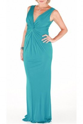 Audrey Jersey Green Aqua Dress Gown