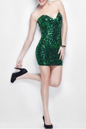 Primavera Couture Emerald Green Sequin Short Dress 9914
