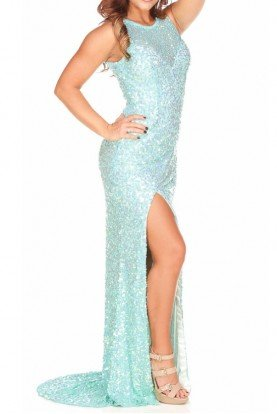 Aqua Mint Sequin Gown Evening Dress Prom 9831