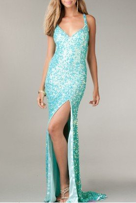 Sequin Dress Premier Gown in Aqua Mint 9873