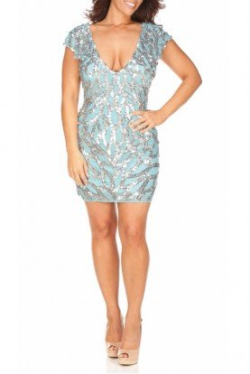 Primavera Superb Sky Blue Silver Sequin Mini Dress 9728