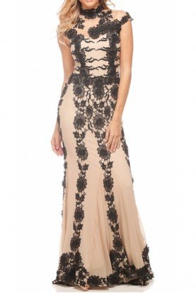 Contrast Floral Lace Illusion Gown 8010